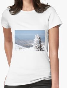 Israel, Hermon Mountain, tree covered with snow  Womens Fitted T-Shirt