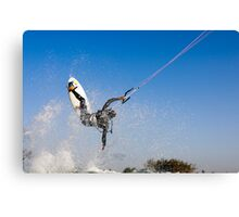 Kitesurfing in the Mediterranean sea  Canvas Print