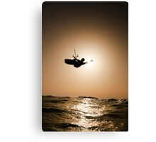 Kitesurfing at sunset Canvas Print