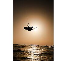 Kitesurfing at sunset Photographic Print