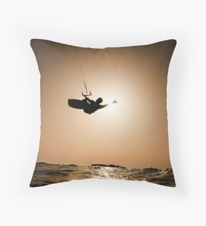 Kitesurfing at sunset Throw Pillow