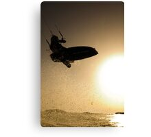 Kitesurfing at sunset in the Mediterranean sea  Canvas Print