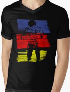 astro stripe Mens V-Neck T-Shirt