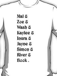 Mal& Zoe& Wash& Kaylee& Inura& Jayne& Simon& River& Book.   [black] T-Shirt