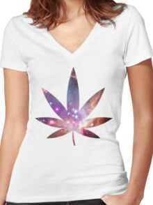 Cosmic Leaf Women's Fitted V-Neck T-Shirt