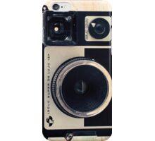 Retro - Vintage Pastel Camera on Beige Pattern Map Background iPhone Case/Skin