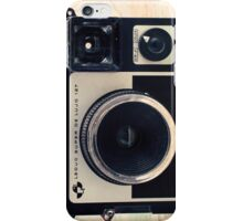 Retro - Vintage Pastel Camera on Beige Pattern Map Background iPhone Case/Skin