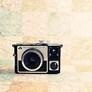 Retro - Vintage Pastel Camera on Beige Pattern Map Background by Andreka