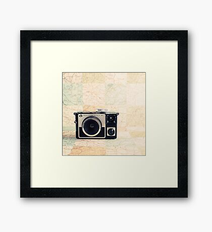 Retro - Vintage Pastel Camera on Beige Pattern Map Background Framed Print