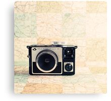 Retro - Vintage Pastel Camera on Beige Pattern Map Background Canvas Print