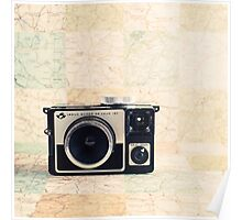 Retro - Vintage Pastel Camera on Beige Pattern Map Background Poster