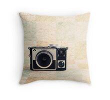 Retro - Vintage Pastel Camera on Beige Pattern Map Background Throw Pillow