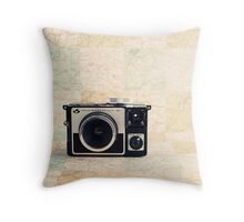 Retro - Vintage Pastel Camera on Beige Pattern Map Background Throw Pillow