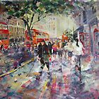 Red London Buses & Phone Boxes - Painting by Ballet Dance-Artist