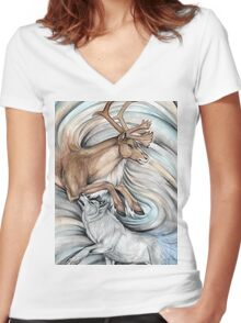The Hunter and Hunted Women's Fitted V-Neck T-Shirt
