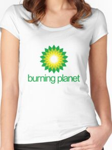 BP - Burning Planet (white) Women's Fitted Scoop T-Shirt