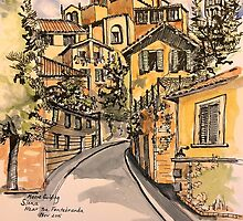 Siena, Italy near the Fontebranda© 2015  by Elizabeth Moore Golding