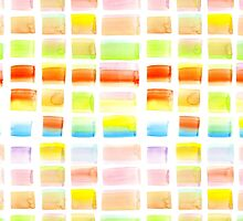 Hand-Painted Watercolor Colorful Pastel Rectangle Brush Strokes by Beverly Claire Kaiya