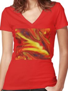 Vibrant Sensation Vivid Abstract III Women's Fitted V-Neck T-Shirt
