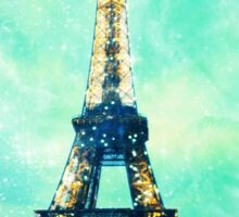 Eiffel Tower Print in Mint Green and Teal Blue Sticker