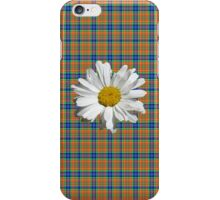 Daisy On Plaid- Blue & Orange iPhone Case/Skin