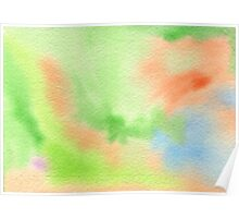 Watercolor Hand Painted Orange Green Blue Abstract Background Poster