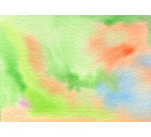 Watercolor Hand Painted Orange Green Blue Abstract Background Photographic Print
