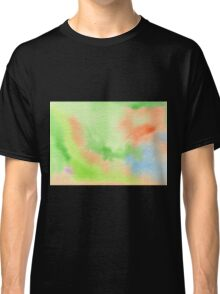 Watercolor Hand Painted Orange Green Blue Abstract Background Classic T-Shirt