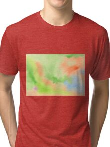 Watercolor Hand Painted Orange Green Blue Abstract Background Tri-blend T-Shirt