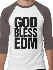 God Bless EDM (Electronic Dance Music) [black] Men's Baseball ¾ T-Shirt