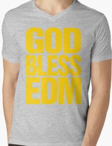God Bless EDM (Electronic Dance Music) [mustard] Mens V-Neck T-Shirt