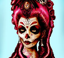 Day of the Dead 'Pink Death' Art Print  by ScreamingDemons