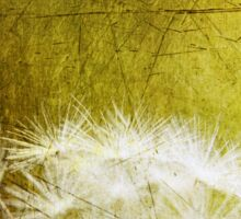 Dandelion in Lime Green, Distressed Metal Look Sticker