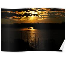 Sunset Lake Burley Griffin Canberra Poster