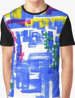 Hand Painted Acrylic Brush Strokes Blue Red Yellow Red Graphic T-Shirt