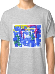 Hand Painted Acrylic Brush Strokes Blue Red Yellow Red Classic T-Shirt