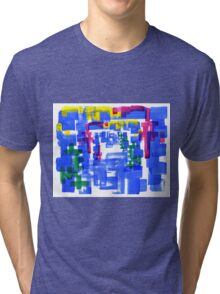 Hand Painted Acrylic Brush Strokes Blue Red Yellow Red Tri-blend T-Shirt