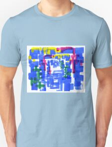 Hand Painted Acrylic Brush Strokes Blue Red Yellow Red Unisex T-Shirt