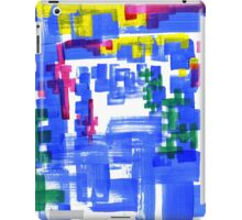 Hand Painted Acrylic Brush Strokes Blue Red Yellow Red iPad Case/Skin