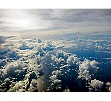 Aerial view of white cloud formations and blue ocean Photographic Print
