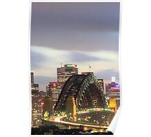 Sydney Harbour bridge at eveningtime with automobile traffic light trails, Sydney, Australia Poster