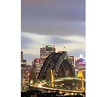 Sydney Harbour bridge at eveningtime with automobile traffic light trails, Sydney, Australia Photographic Print