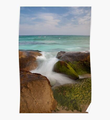Ocean view and rocks using slow shutter speed Poster