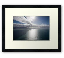 Aerial view of sea near Queensland, Australia with white cloud formations and blue ocean Framed Print