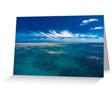 White cloud formations and blue ocean with reef, Australia Greeting Card