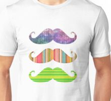 Of course mustaches:{{{ Unisex T-Shirt