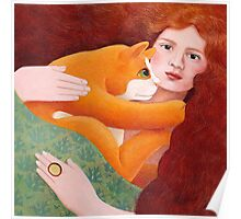 Girl with Ginger Cat Poster