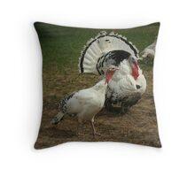 White Turkeys Throw Pillow