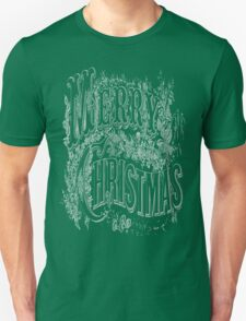 Vintage Merry Christmas Holiday Greeting (White Text) T-Shirt