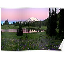 Pastel Skies Over Rainier Poster